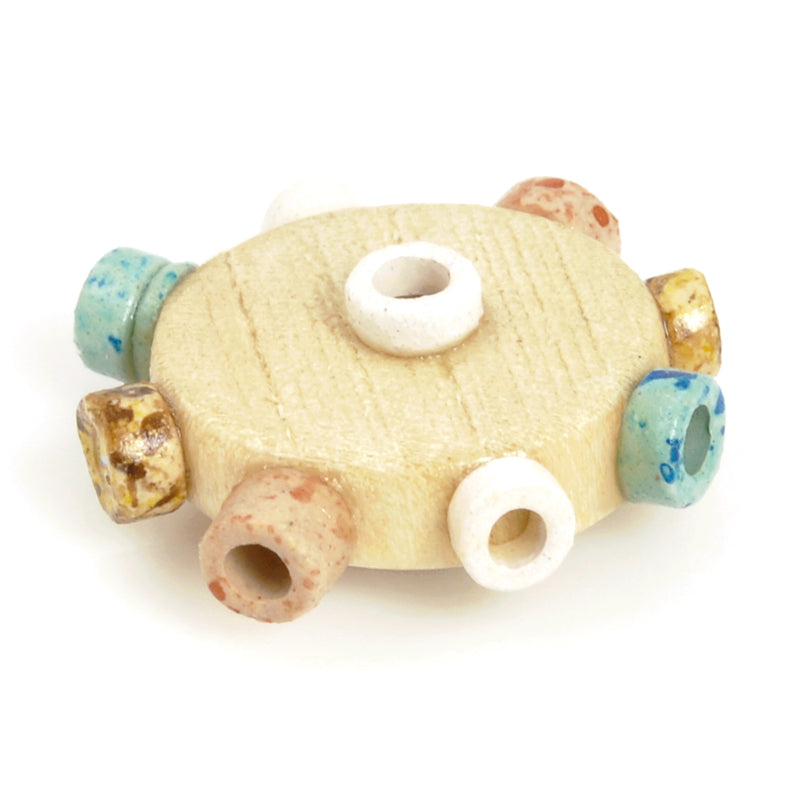 Ceramic Beads-Avante Garde Picasso-18mm Abstract Round Disc-Multi-Quantity 1
