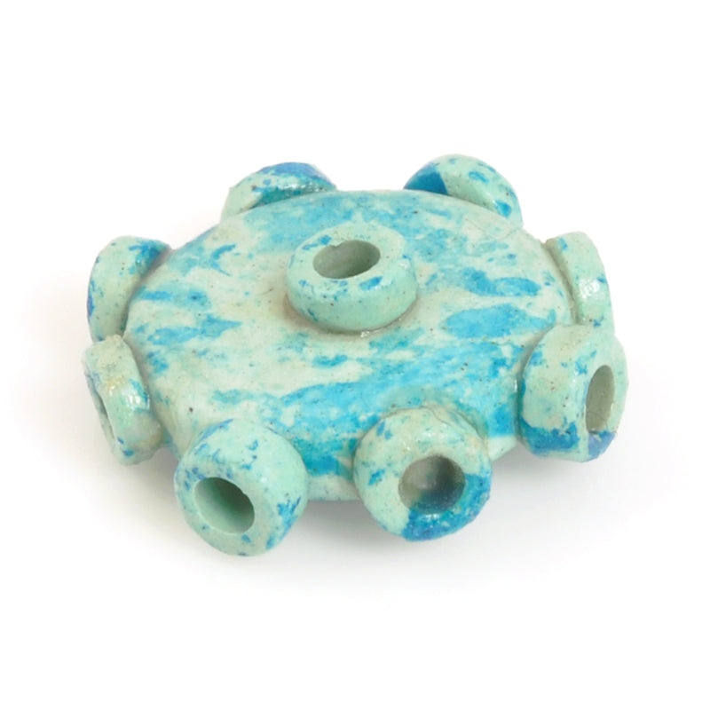 Ceramic Beads-Avante Garde Picasso-18mm Abstract Round Disc-Seafoam Splash-Quantity 1