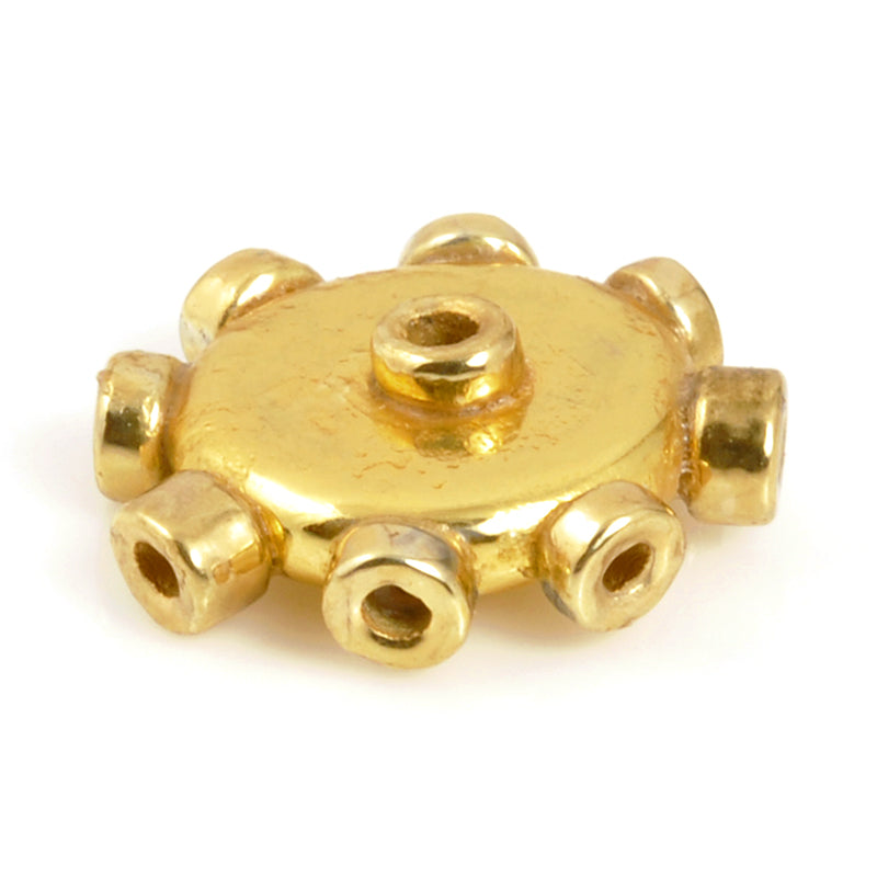 Ceramic Beads-Avante Garde Picasso-18mm Abstract Round Disc-Gold-Quantity 1