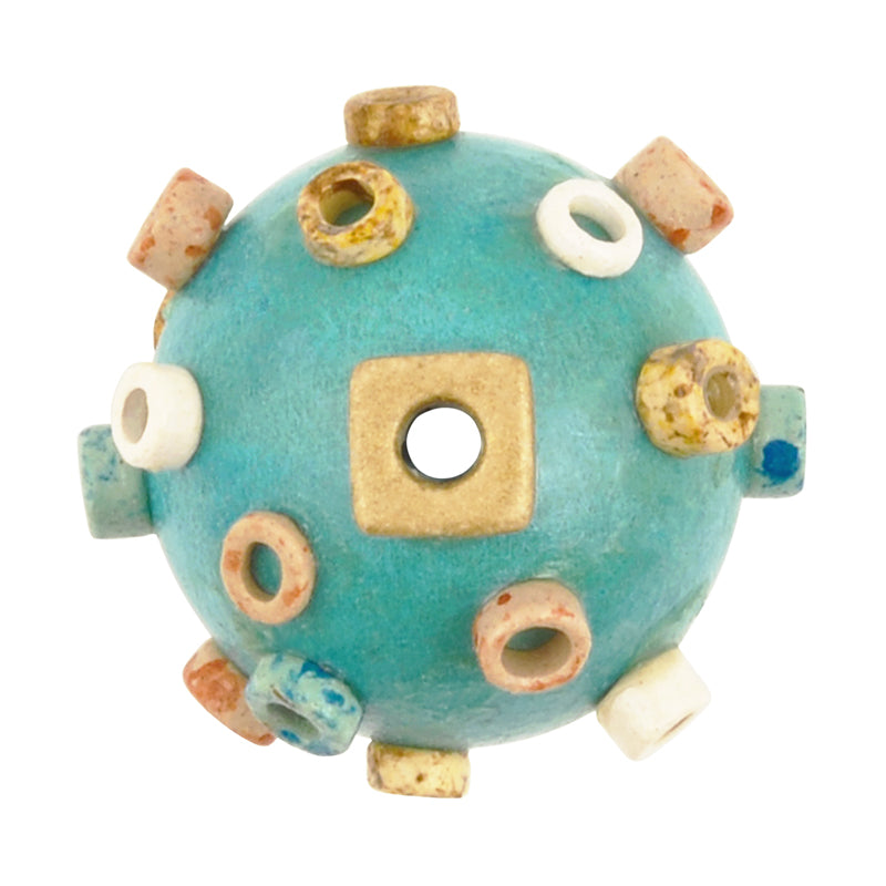 Ceramic Beads-Avante Garde Picasso-25mm Abstract Round-Turquoise Multi-Quantity 1