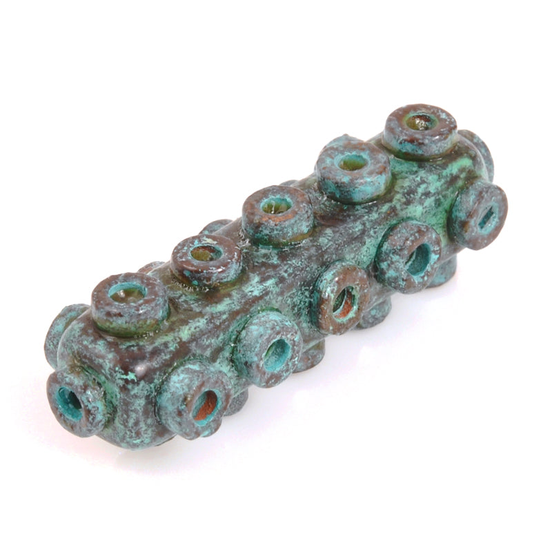 Ceramic Beads-Avante Garde Picasso-35x10mm Rectangle Tube-Green Patina-Quantity 1