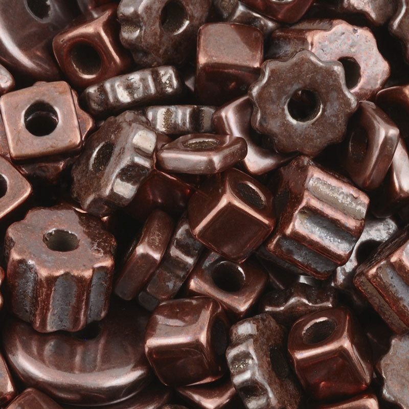Ceramic Beads-Mix-Antique Copper-15 Grams