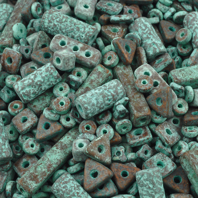 Ceramic Bead Mix-Green Patina-15 Grams