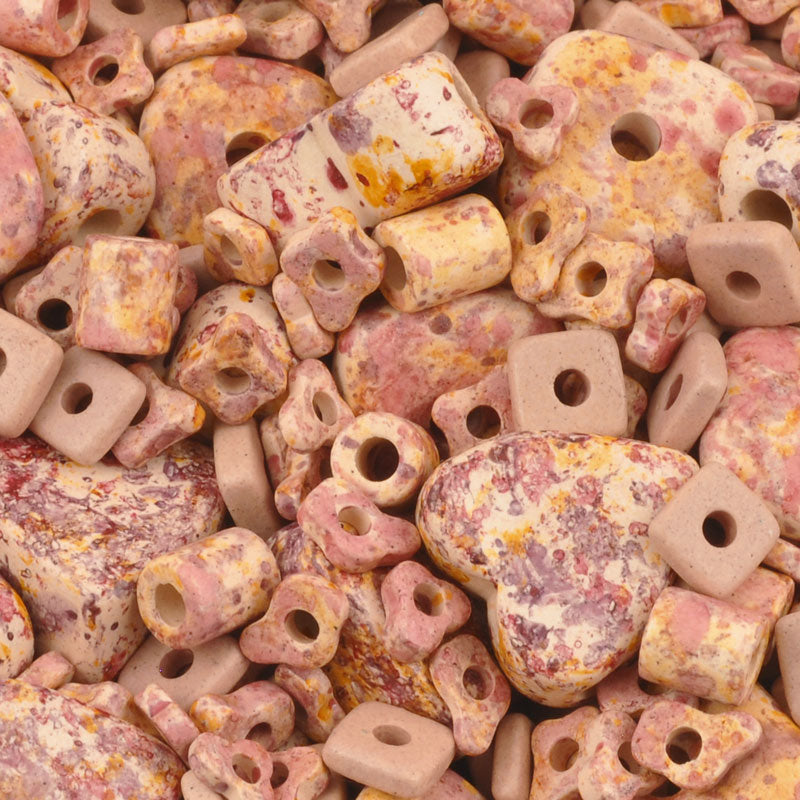Ceramic Beads-Mix-Pink Splash-Quantity 10 Grams