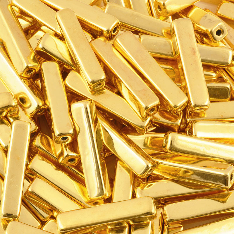 Ceramic Beads-30x6mm Rectangle Tube-Gold