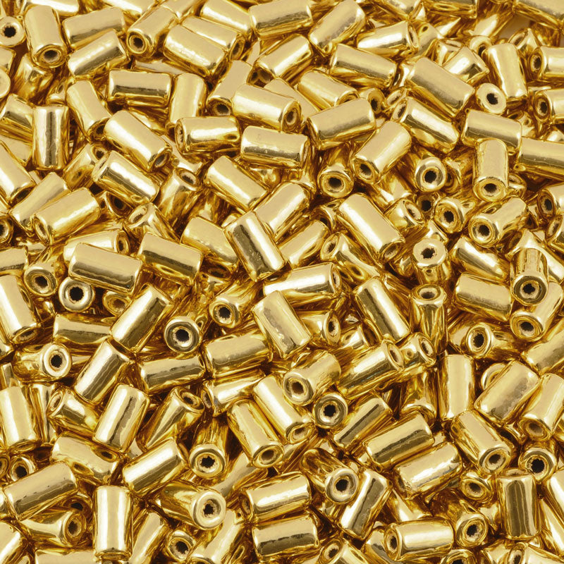 Ceramic Beads-10x5.8mm Tube-Gold