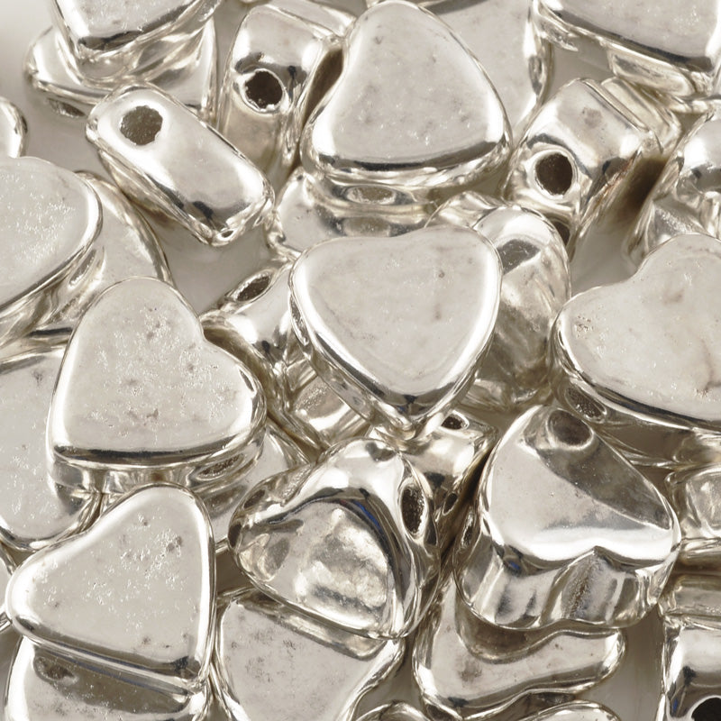 Ceramic Beads Wholesale-15x14.7mm Heart-Antique Silver-Quantity 10