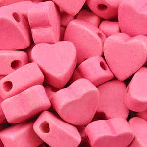 Ceramic Beads Wholesale-15x14.7mm Heart-Fuchsia Rose-Quantity 25