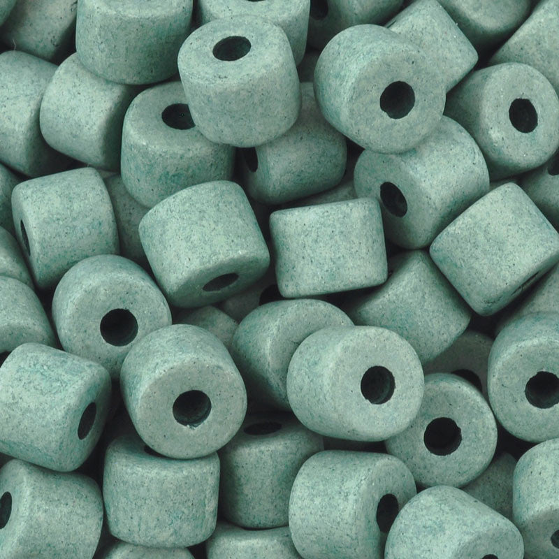 Ceramic Beads Wholesale-6x8mm Tube-Sage Green