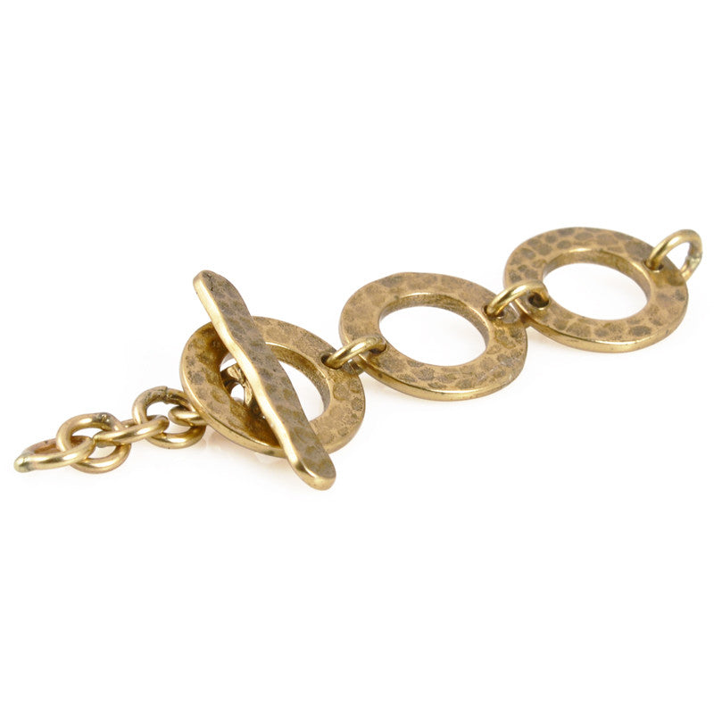 Clasp-10mm Hammered Toggle-Antique Bronze