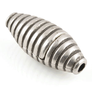Clasp-13x30mm Ridged Tube Magnetic-Antique Silver