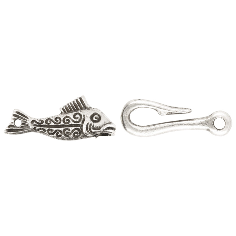 Clasp-13x32 Fish & 9x25mm Hook Clasp-Casting-Antique Silver