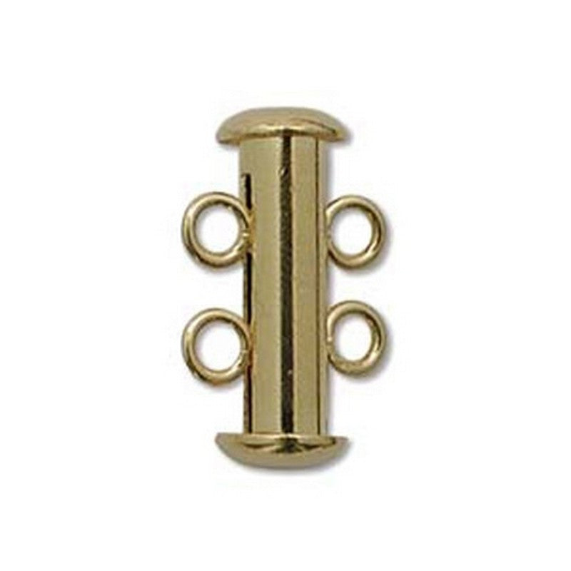 Clasp-16mm Two Ring Tube Clasp-Multi Strand-Gold-Quantity 1
