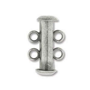 Clasp-16mm Two Ring Tube Multi Strand-Antique Silver-Quantity 1