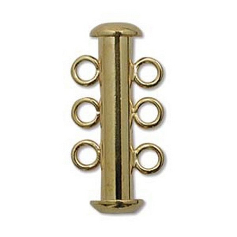 Clasp-21mm Three Ring Tube Clasp-Multi Strand-Gold-Quantity 1