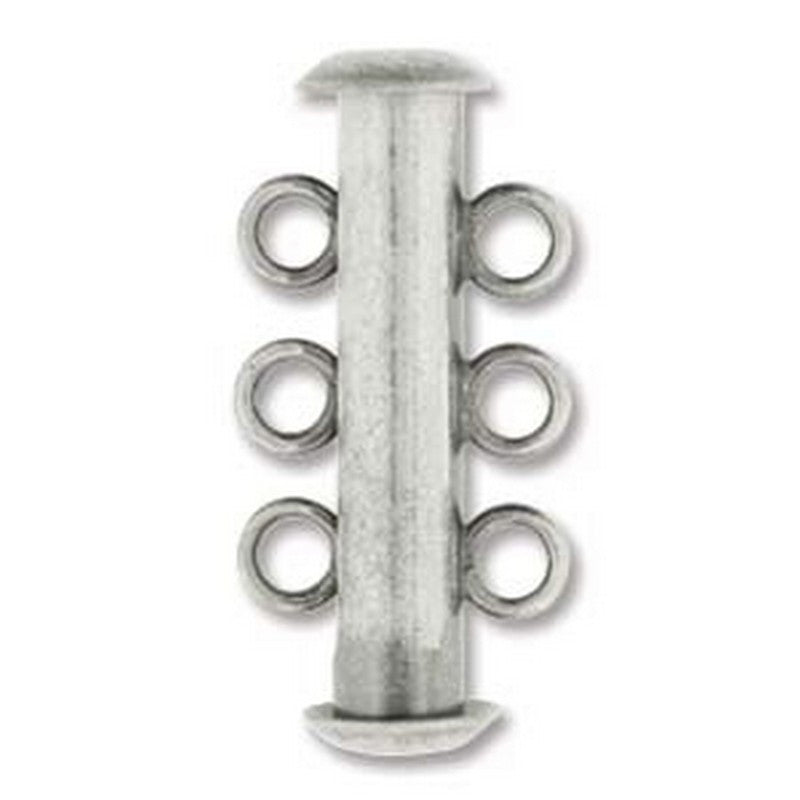 Clasp-21mm Three Ring Tube Multi Strand-Antique Silver-Quantity 1