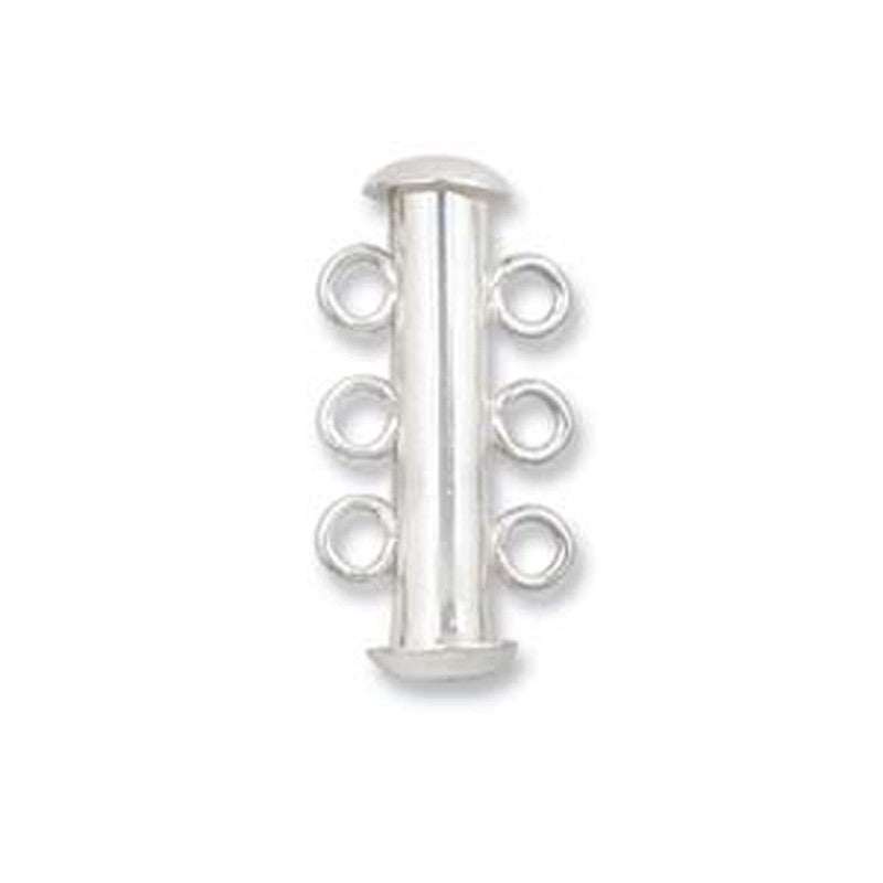 Clasp-22mm Three Ring Tube-Multi Strand-Sterling Silver-Magnetic