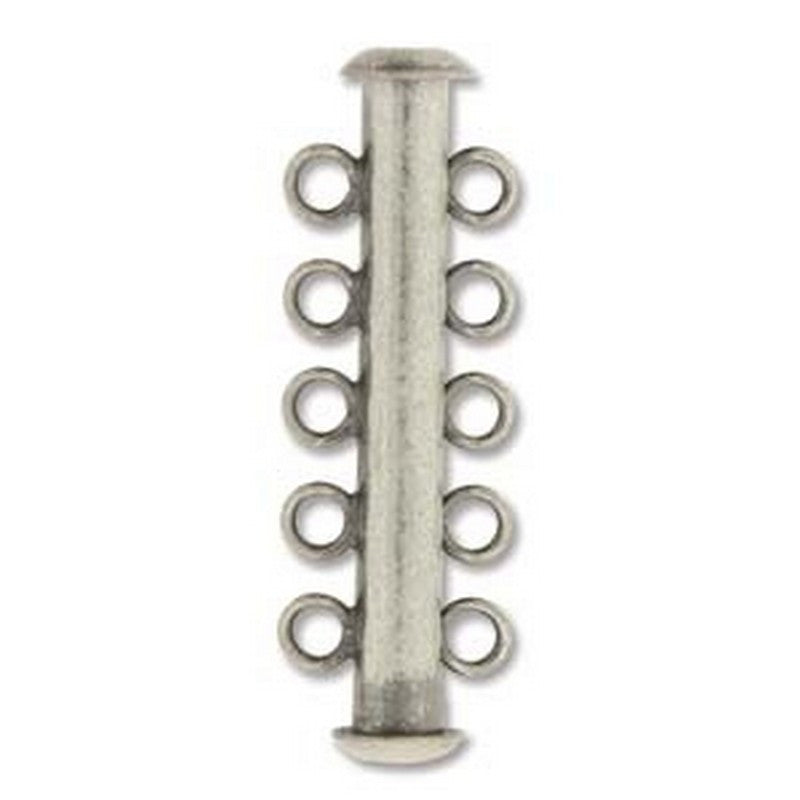 Clasp-31mm Five Ring Tube Multi Strand-Antique Silver-Quantity 1