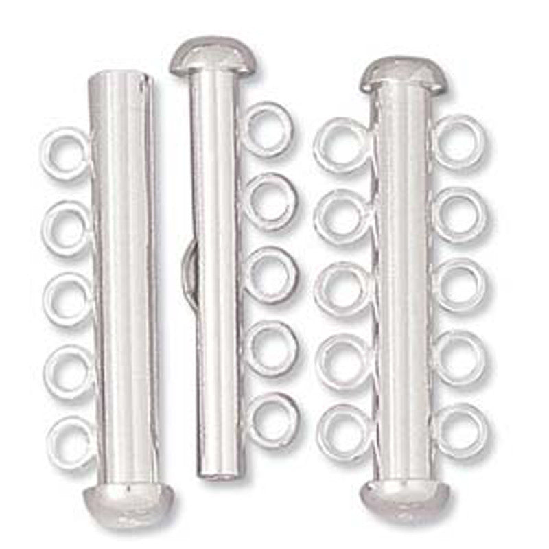 Clasp-32mm Five Ring Tube-Multi Strand-Sterling Silver-Magnetic