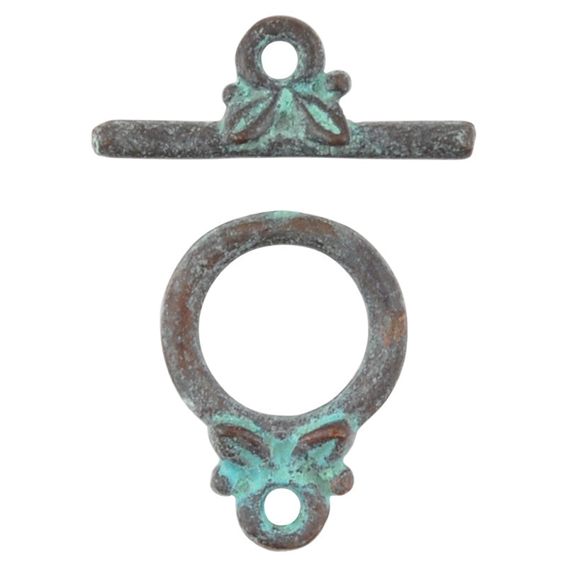 Clasp-Casting-11x15mm Toggle with Leaves-Green Patina
