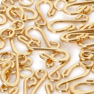 Clasp-Hook & Eye Clasp-Gold-Quantity 20