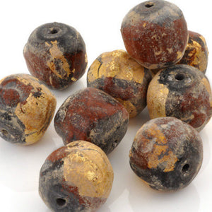 Clay Beads-12mm Contemporary Clay Buddha Round Terra Cotta Red With Gold Leaf-Quantity 5