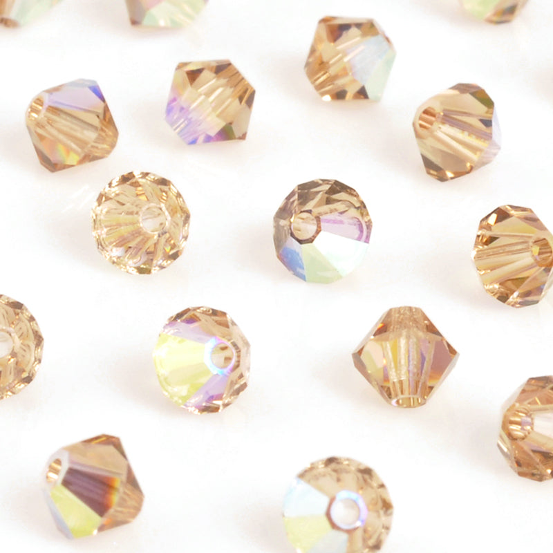 Crystal Beads-4mm Swarovski Bicone-5301-Light Colorado Topaz AB-Quantity 12