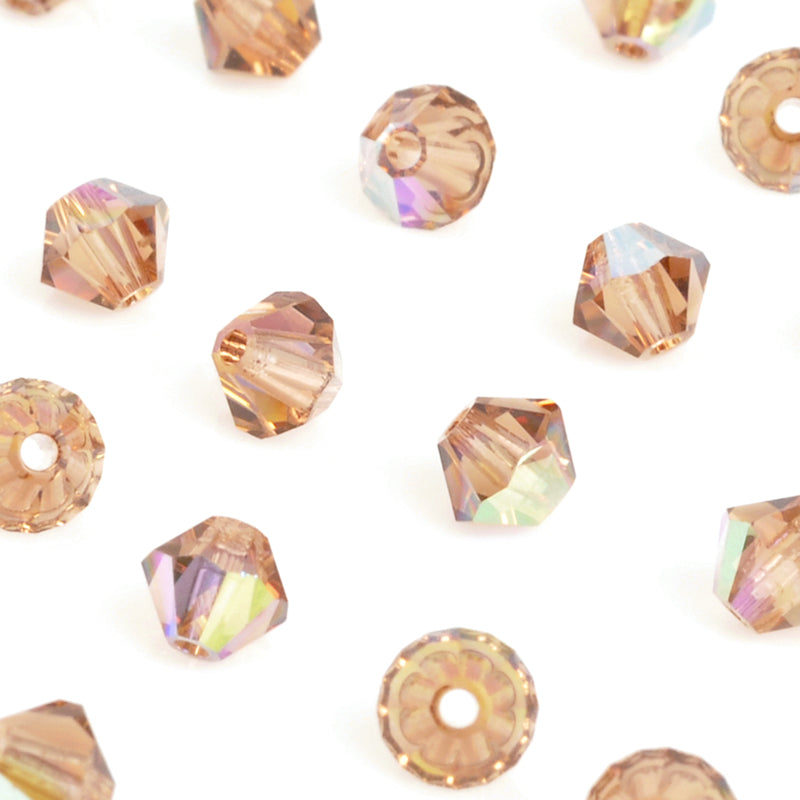 Crystal Beads-4mm Swarovski Bicone-5301-Light Smoky Topaz AB-Quantity 12