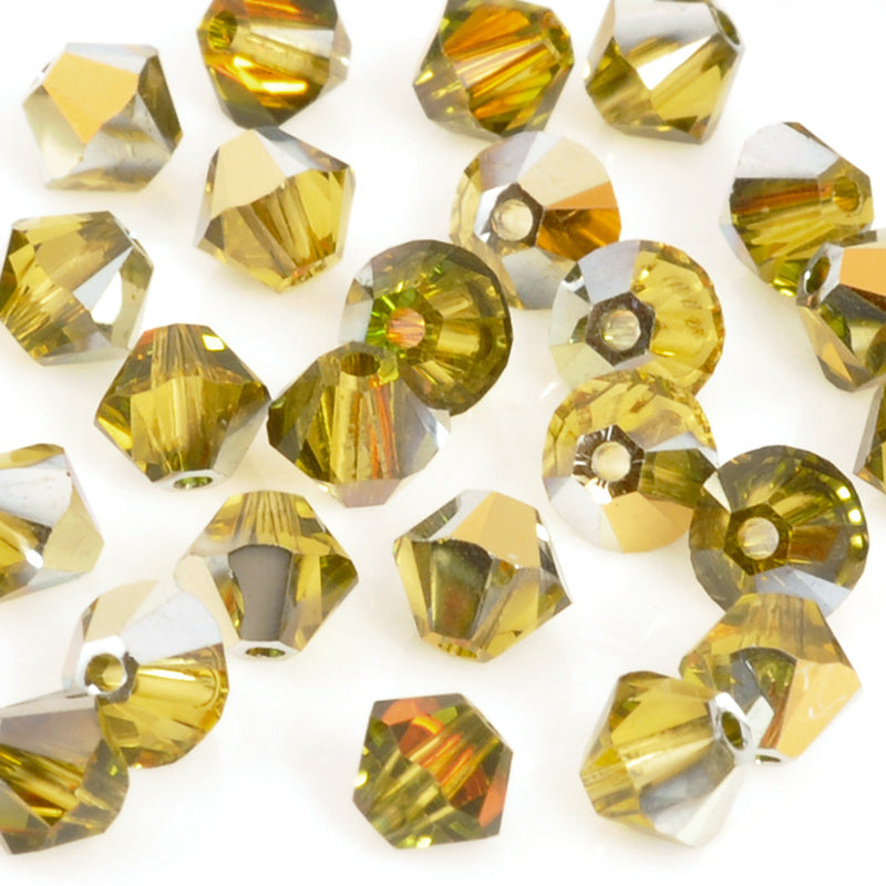 Crystal Beads-4mm Swarovski Bicone-5328-Citrine Cathedral-Quantity 12