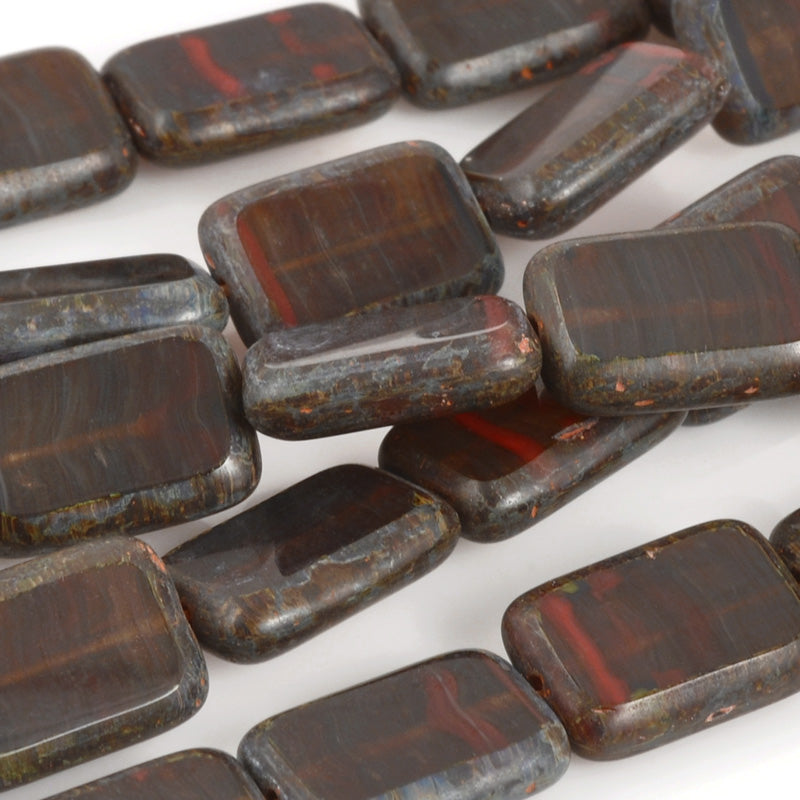 Czech Glass Beads-8x12mm Polished Rectangles-Rustic Cheyenne Autumn-Quantity 1