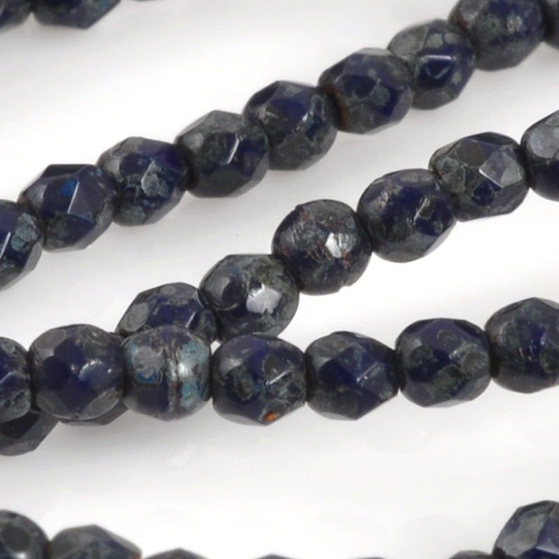 Czech Glass Beads-2mm Fire Polished-Navy Blue-Quantity 1