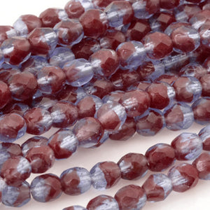 Czech Glass Beads-4mm Fire Polished-HurriCane-Oxblood Sapphire