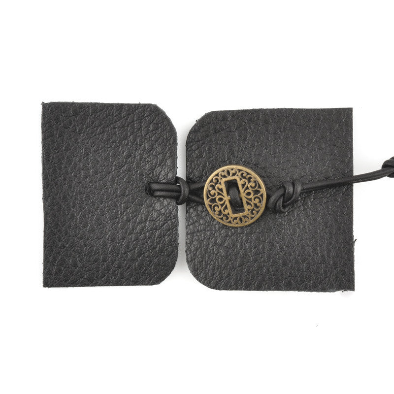 Designs-Leather Kit-Bracelet-Black/Antique Gold Button