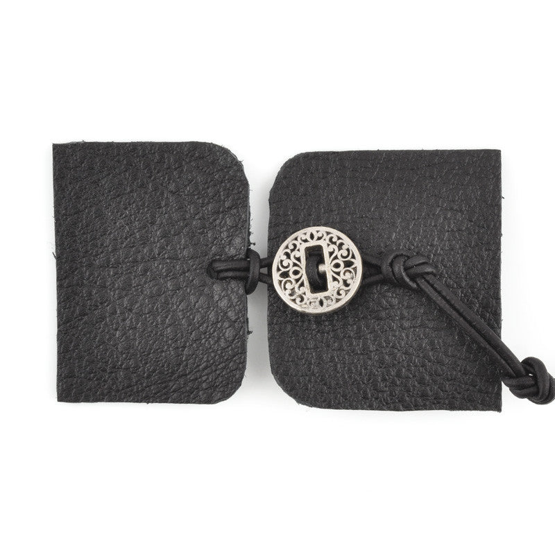 Designs-Leather Kit-Bracelet-Black/Antique Silver Button
