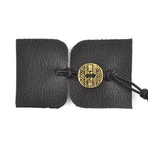 Designs-Leather Kit-Bracelet-Black/Native Antique Gold Button