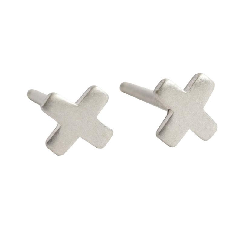 Simple Earring Stud-3mm X-Sterling Silver-One Pair
