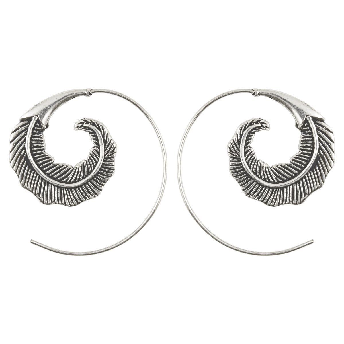 Finished Jewelry-Simple-Brass Feather Spiral Earrings