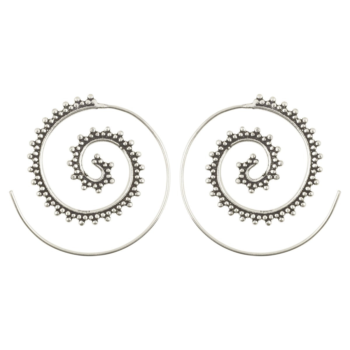 Simple-Brass Granular Dotted Spiral Earrings