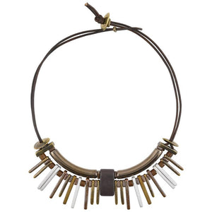 Earth Metals Leather Necklace