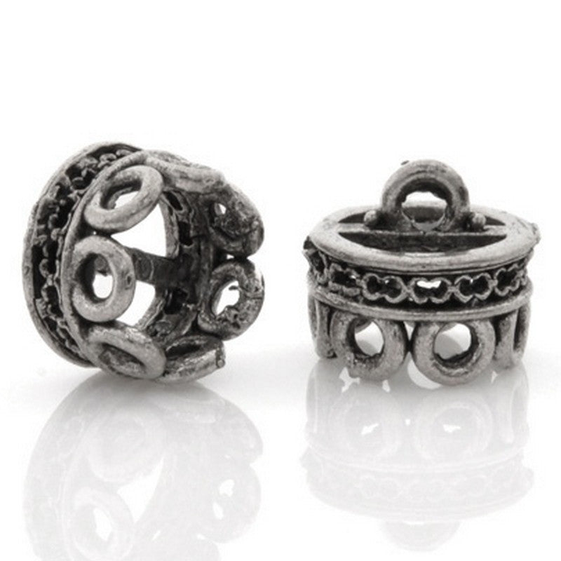Findings-10x8mm Openwork Band Bead Cap-Antique Silver-Quantity 1