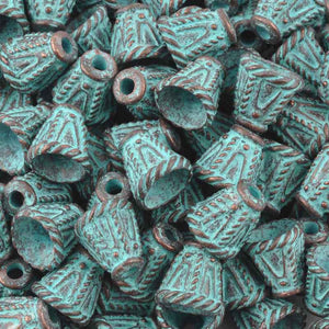 Findings-12mm Ornate Cone/Rope Designs Casting-Green Patina