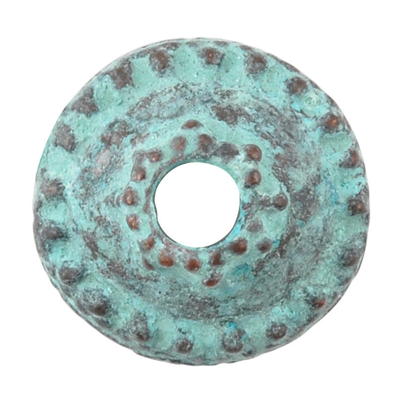 Findings-13mm Granular Bead Cap-Green Patina
