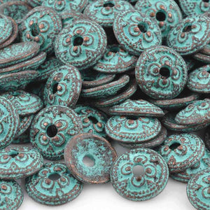Findings-13mm Ornamental Bead Cap-Green Patina
