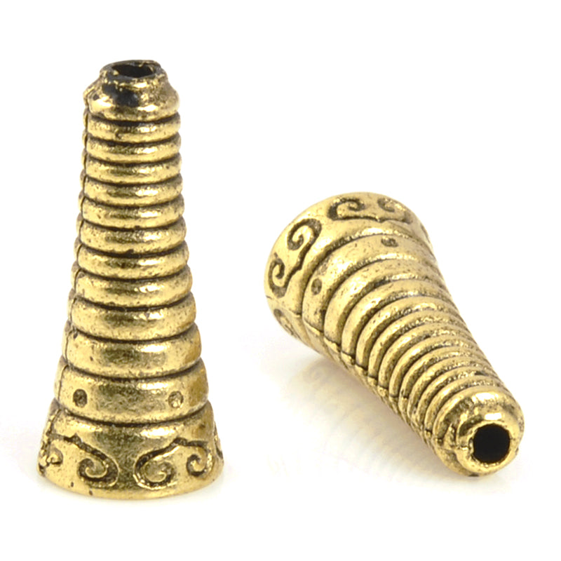 Findings-16mm Bolo Cone Bead Cap-Antique Gold-Quantity 1
