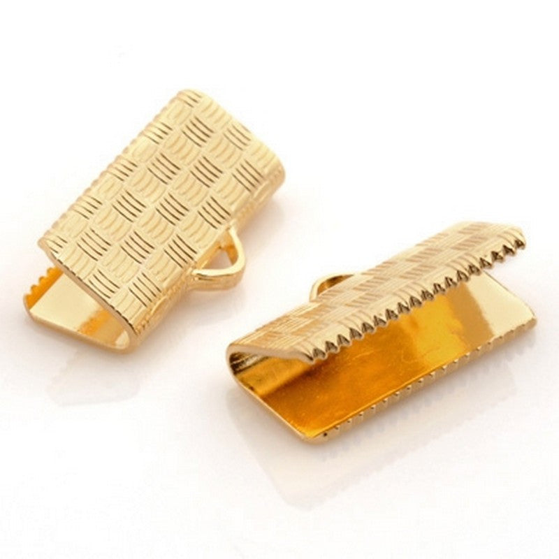 Findings-16mm Flat Crimp End-Gold Plate-Quantity 12
