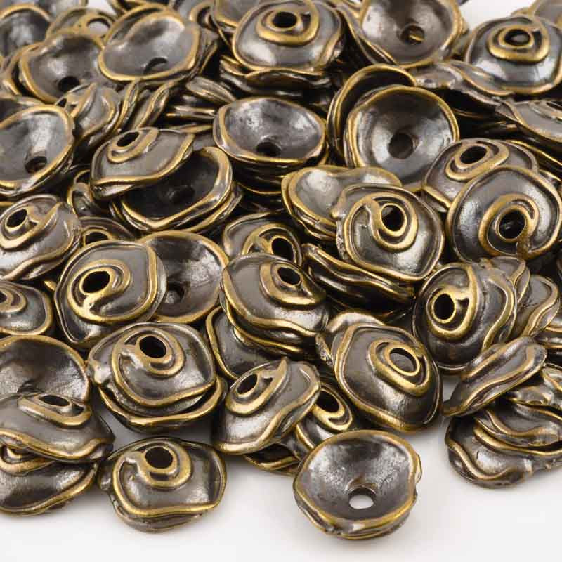 Findings-20x19mm Swirl Bead Cap-Antique Bronze