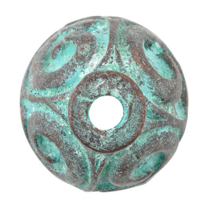 Findings-23x20mm Large Swirl Bead Cap-Green Patina