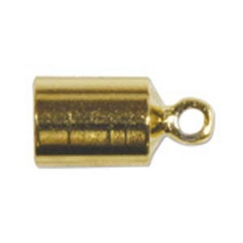Findings-4mm Barrel End Caps-Gold-Fits 4mm Cord-Sold Separately