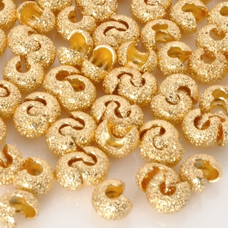 Findings-4mm Stardust Crimp Cover-Gold-Quantity 144