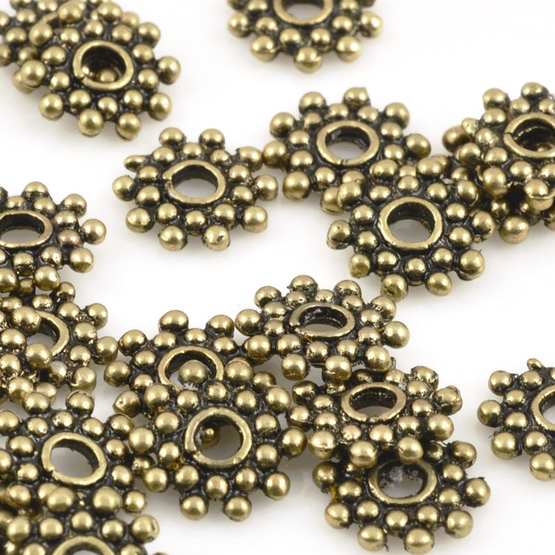 Findings-8mm Daisy Spacer Bead-Antique Gold-Quantity 24